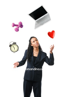 Business Person Juggling Career, Work, Love, Home, Life on White